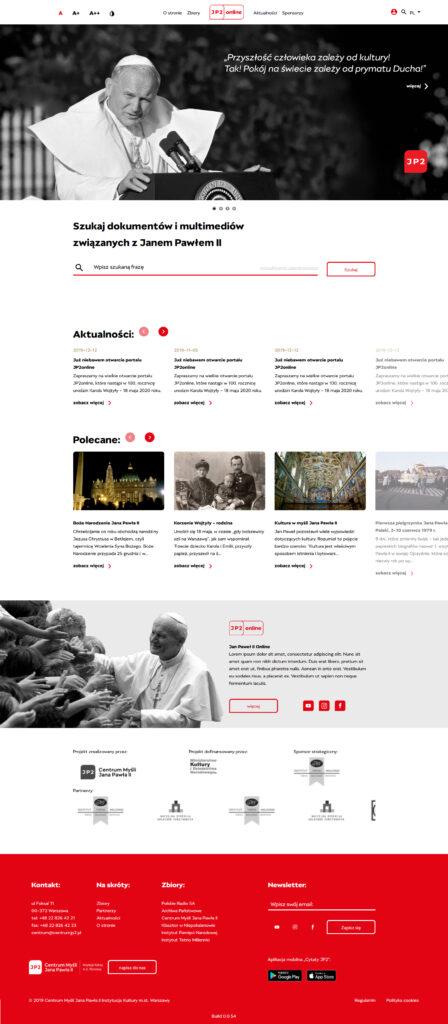 wizualizacja strony głównej portalu JP2online.pl