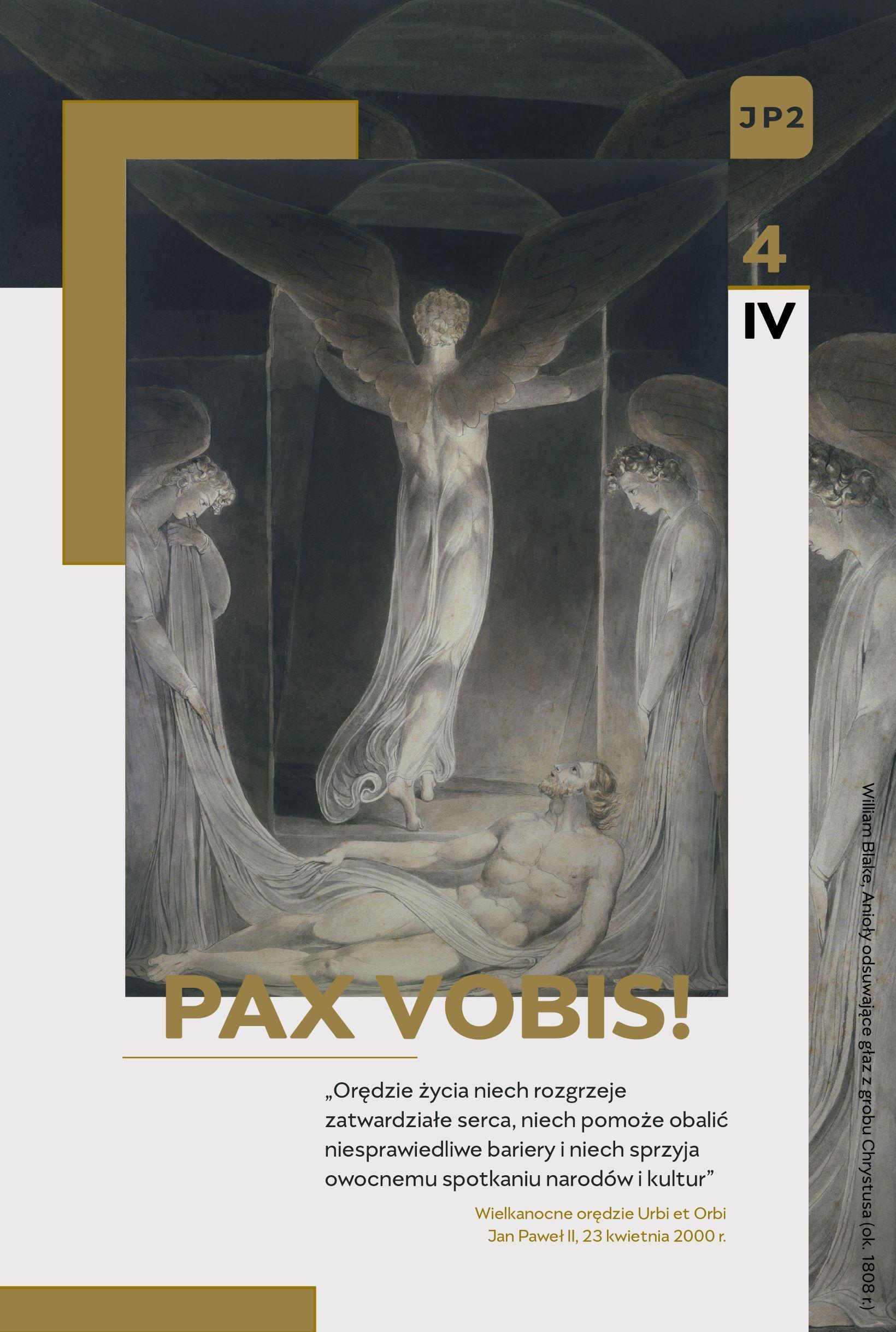 """kartka świąteczna, anioły, grób, napis """"Pax vobis"""""""